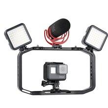 Ulanzi estabilizador de Vlog todo en 1 de aluminio, estructura de vídeo, soporte de zapata fría con micrófono, para rellenos de iPhone