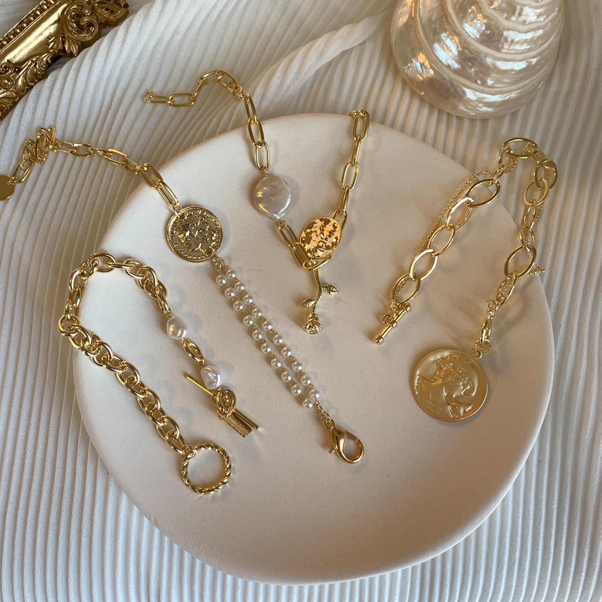 HUANZHI 2019 חדש הבארוק סדיר חיקוי פניני זהב מתכת קישור שרשרת צמידי לנשים ילדה קיץ המפלגה תכשיטים