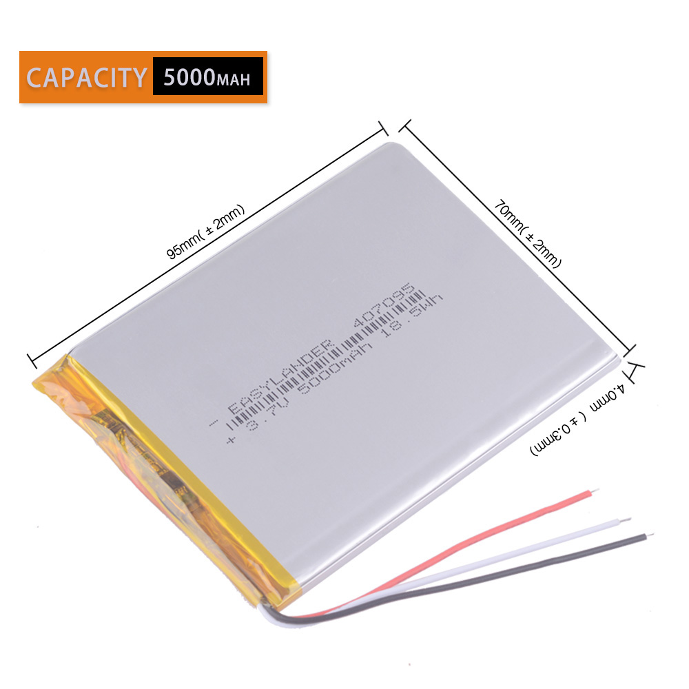 3wires 3.7V 5000mah (polymer Lithium Ion Battery) Li-ion Battery For Tablet Pc 7 Inch MP3 MP4 [407095] Replace High Capacity
