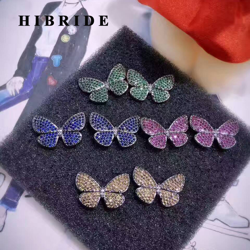 HIBRIDE Beautiful Butterfly Shape Colorful Micro Cubic Zircon Pave Women Stud Earrings Gifts Female Bijoux Brincos E-448