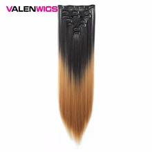 Valenwigs 22 7pcs Ombre Color Full Head Straight Clip in Synthetic Hair Extensions  Heat Resistant Black Brown For Women