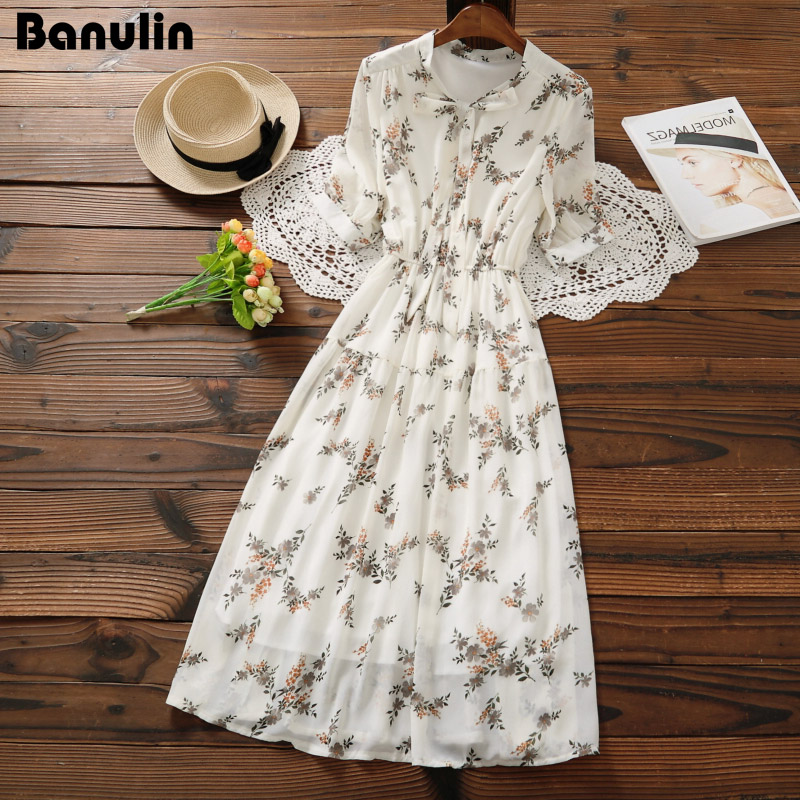 Mori Girl Sweet Dress 2020 New Summer Women Floral Print Long Chiffon Dress Female Short Sleeve Pleated Vestidos Korean Fashion