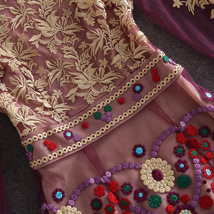 HIGH QUALITY S-XL New Fashion 2017 Women's Long Sleeve Gauze Gold Thread Luxury Embroidery Dress Autumn Dress 7