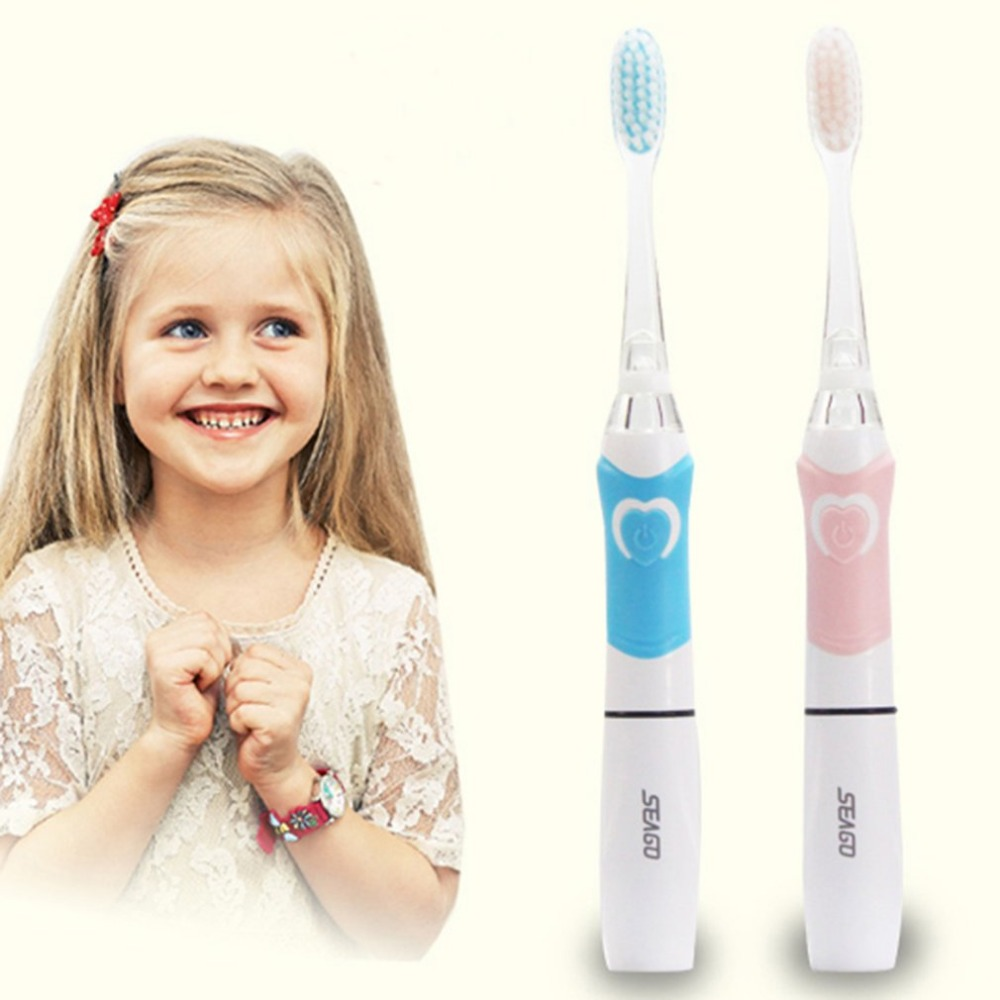 Seago SG-677 Children Electric Intelligent Sonic Toothbrush With LED Light Heart Shape Switch Oral Dental Care l pack 380 led light mirror pick dental oral care kit light blue