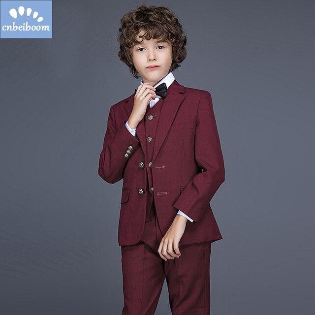 Gentleman stil Jungen Anzüge Dunkelrot Baby Kleidung Sets Kinder ...