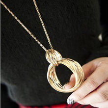 double circles metal tassel long necklace women necklaces pendants female gift(China)