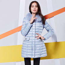 New Winter Coat Women Fashion Sweet Long Down Jackets Thin Fox Fur Collar Feminine Coat Solid Color Parka C882