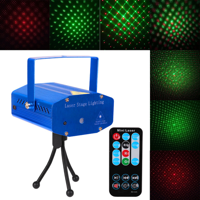 mini dj club disco projector stage laser light auto strobe sound voice activated green red voice control function with remote in stage lighting