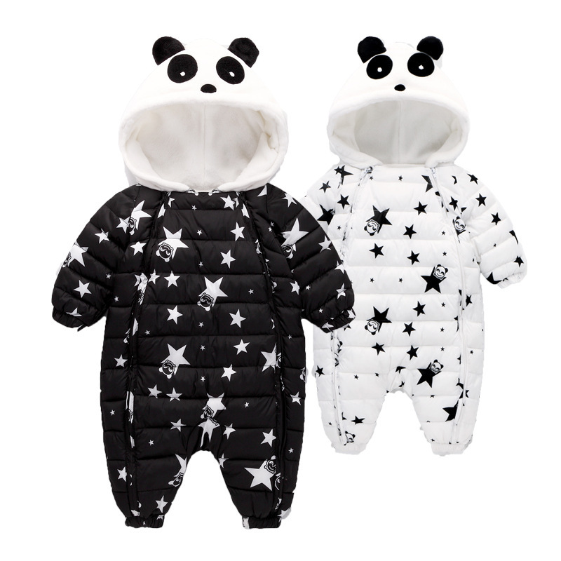 Waterproof Winter Warm Baby Boy Girl Bodysuits Flannel Liner Cotton Filler Newborn Baby Clothing Panda Modeling For 3 24 Months-in Rompers from Mother & Kids