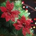 """Flor de La navidad 10 Unids 6 """"Glitter Hollow Flores Banquete de Boda de Navidad Decoraciones Para Árboles de Navidad"""