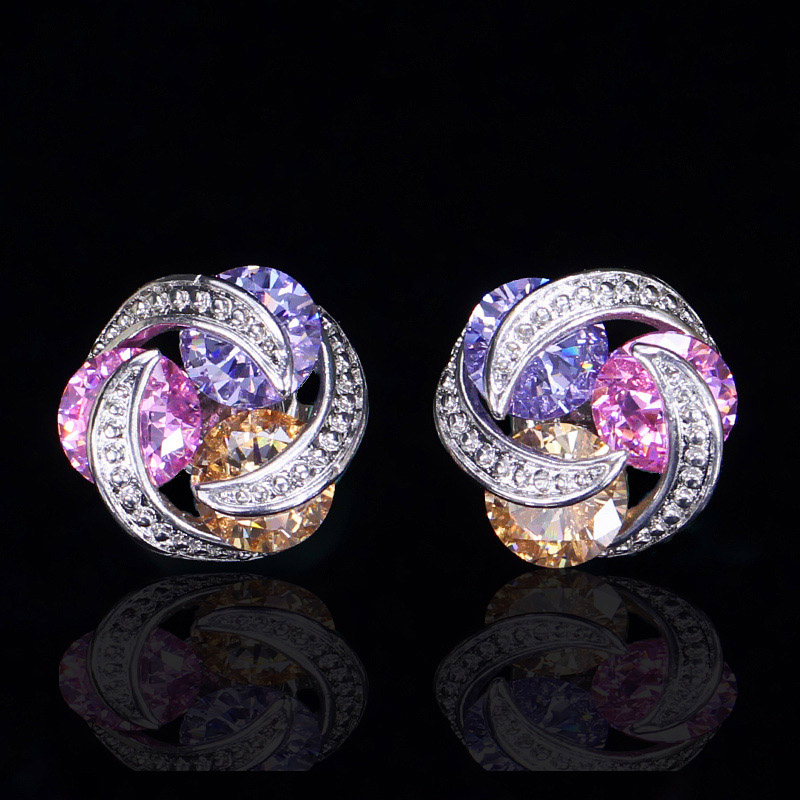 Crystal Stud Earrings-5