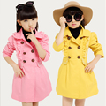 Girls Trench Coats New Spring Autumn Long Cotton Princess Jackets For Girls Kids Outerwear Lace Double Breasted Windbreaker