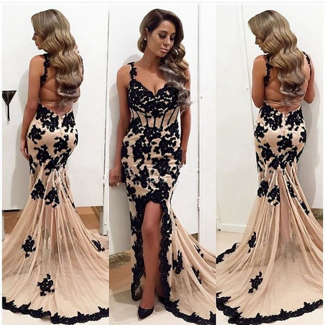 fee6aca286 Long Evening Dress 2017 Sexy Mermaid Sweetheart Women Formal Gowns Black  Appliques Backless Arabic Champagne Evening