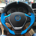 Blue Black Leather DIY Hand-stitched Car Steering Wheel Cover for BMW F30 320i 328i 320d F20