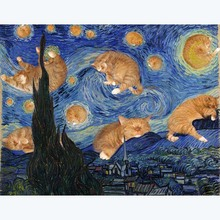 Starry Night Van Gogh Oil Painting Mosaic Full Square Diamond Painting Cat Animal Home Decorative Round Drill Embroidery Stitch van gogh decoracao para casa van gogh painting starry night diamond painting eigen foto rotterdam diamond painting christmas