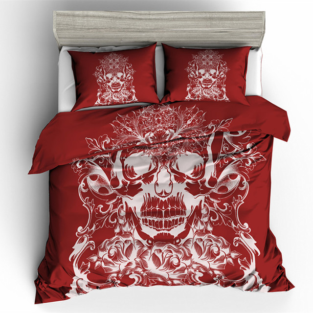 RED SUGAR SKULL 3D BEDDING SETS