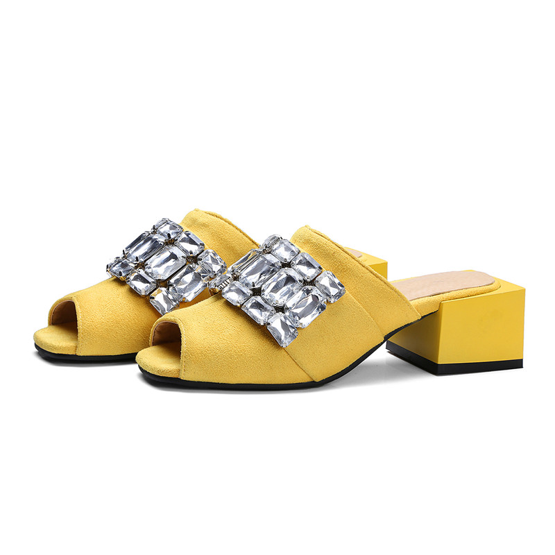 woman summer pumps slingbacks med square heels peep toe fashion casual slip-on string bead shallow 20%off free shipping 2017 new enmayer mirror med heels crystal flowers square heels pointed toe dress slip on pumps elegant shallow spring8autumn woman shoes