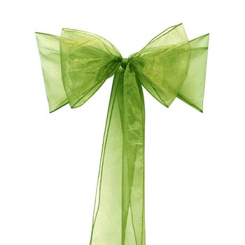 Plus Size 275cm(L)*22cm(W) 200pcs  Banquet party Chair cover sashes grass green Organza Chair Sash Bow For Flower/Weeding