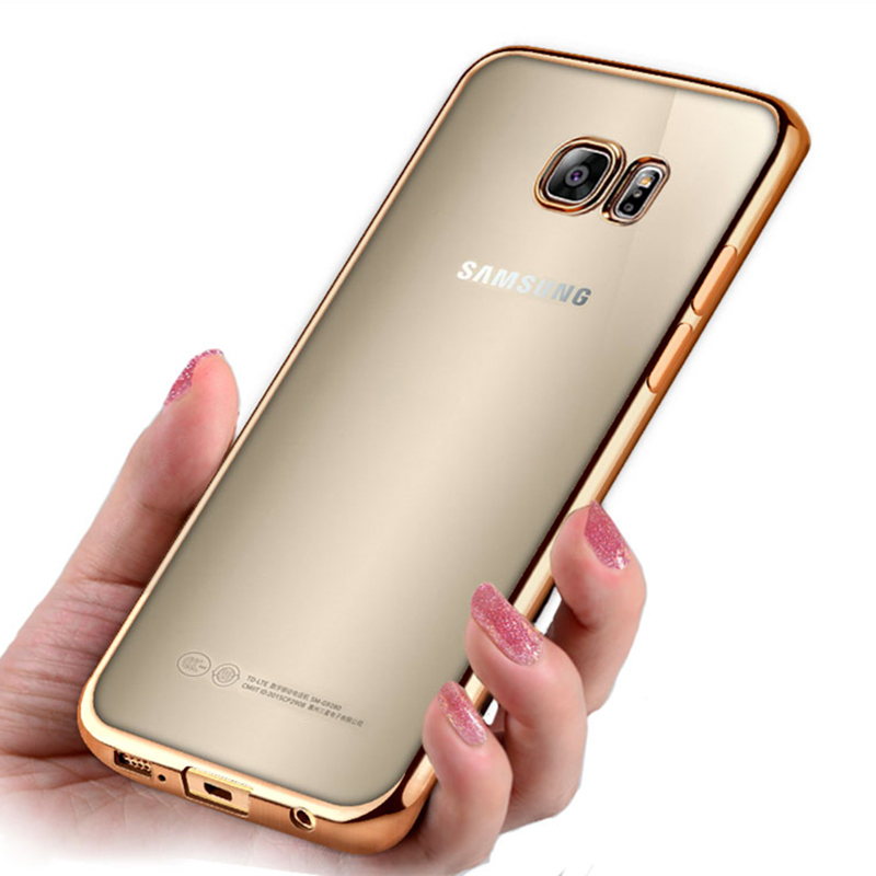 Luxury Ultra Thin Plating Soft Silicone Case for Samsung Galaxy A3 A5 A7 2017 J3 J5 J7 2016 S6 S7 Edge S8 S9 Plus Cover image