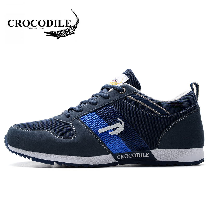Crocodile for Men's Athletic Sport Shoes 2018New Sneakers Male Breathable Running Shoes Men Outdoors Jogging Walking Sport Shoes crocodile original 2018 new men walking shoes male leather working shoes running jogging sneaker for men s flat sport shoes