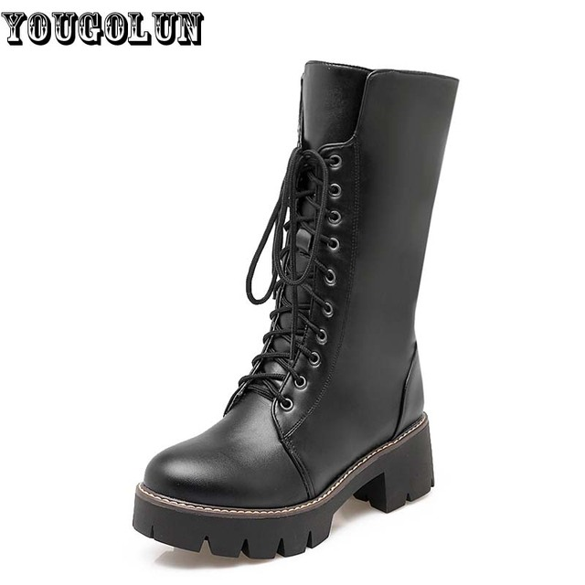 YOUGOLUN 2017 Women Snow Boots Winter waterproof Square Heels 5cm Woman Lace up Black White Round toe Warm Platform Shoes #Z-077