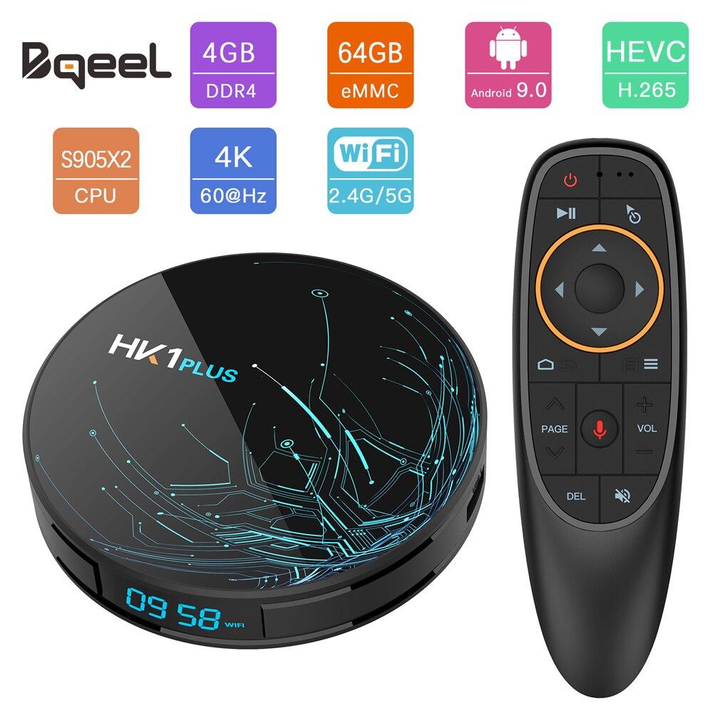 CAIXA de TV Android 9.0 CAIXA de TV Inteligente Amlogic HK1PLUS Bqeel S905X2 DDR4 4GB 64G Wi-fi Caixa De TV do Google jogador 4K 3D Android TV Set Top Box