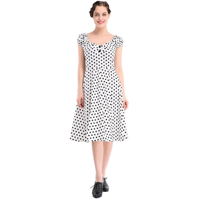 Retro Style Women Pinup Retro Robe Puffy Sleeve 50s Vintage Dress Polka Dot  Knee-Length Sexy Cocktail Party Vestidos Hot Selling be646a4a4b2