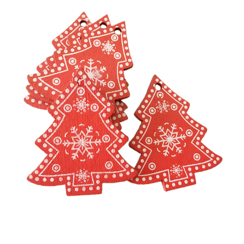 New Year 2020 Christmas Snowflake Wooden Pendant Xmas Tree Decorations for Home Wood Hanging Crafts Navidad 2019 Noel Natal Deco 18