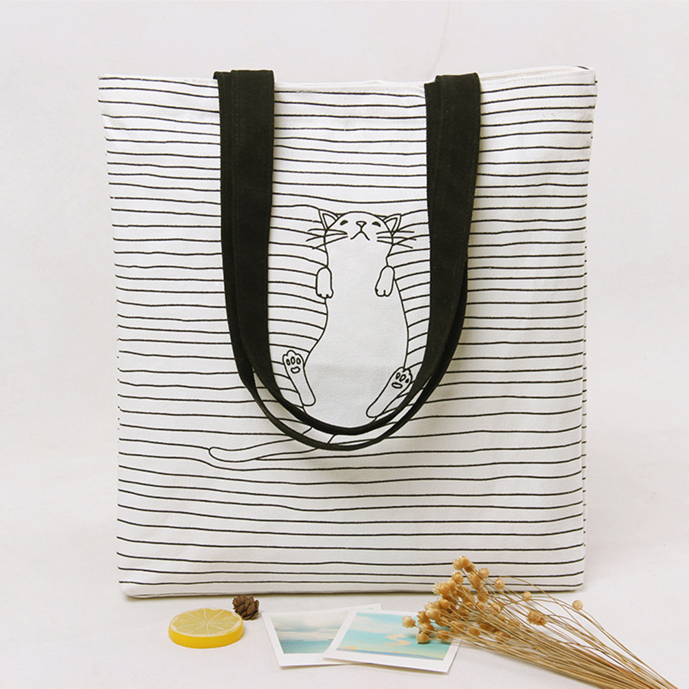 MOLAVE Handbag bag female Solid bags for Girls Zipper Casual Women Canvas Bag Simple Cute Cat Totes Striped Shoulder Bags Mar21