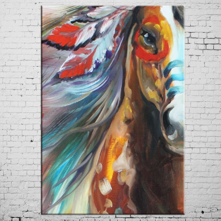 Free Shipping High Quality Horse Oil Paints Abstract Pop Horse Oil Painting On Canvas Handmade Animal Indian Horse Paintings