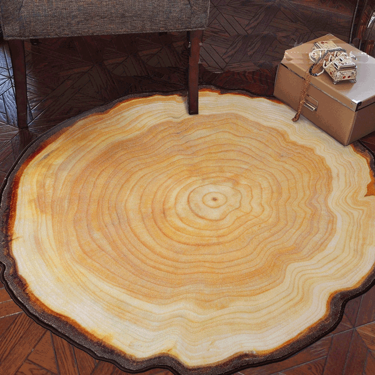 80/100/120/140CM Antique Wood Tree Annual Ring Round Carpet For Living Room Bedroom Study Room Chair Mat Plush Rug