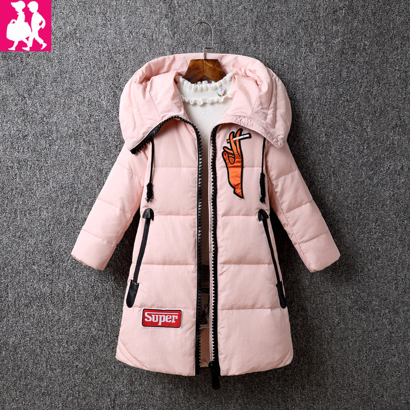 2018 New velvet Kids Parkas Coat children's Winter jackets Warm Down cotton For Girl clothes Children Outerwear Thick Overcoat girl s winter imitation fur coat 2017 girls thick fluff warm coat children baby clothes kid thick plus velvet coat