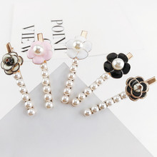 Fashion super beauty camellia hairpin bangs clip imitation pearl simple wild flowers barrettes Retail and wholesale