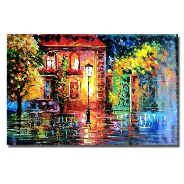Pluie rue paysage moderne paysage peinture à l'huile