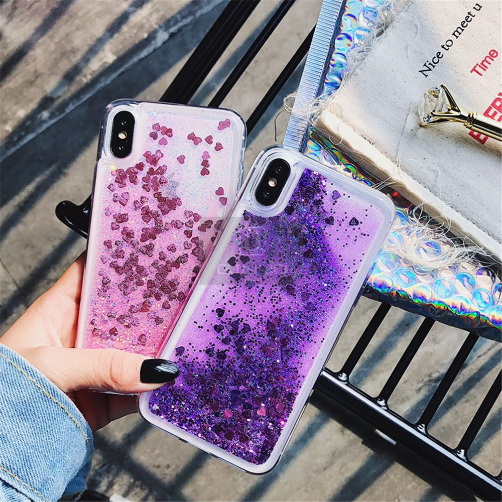 HTB1XznxXOnrK1RjSsziq6xptpXar - QINUO Love Heart Glitter Phone Case For iphone 11 Pro Max X XR XS MAX 6S 6 7 8 5 5S SE Liquid Quicksand Bling Sequin Cover