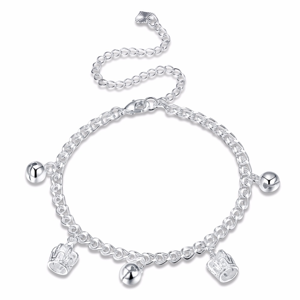 in bracelets plated silver accessories from anklet pure ankle on item stars anklets solid simple jewelry real sterling crown double genuine