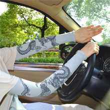 Summer Sunscreen Tattoo Sleeve Silk Driving Sexy Thin Gloves Lace Guantes Conducir