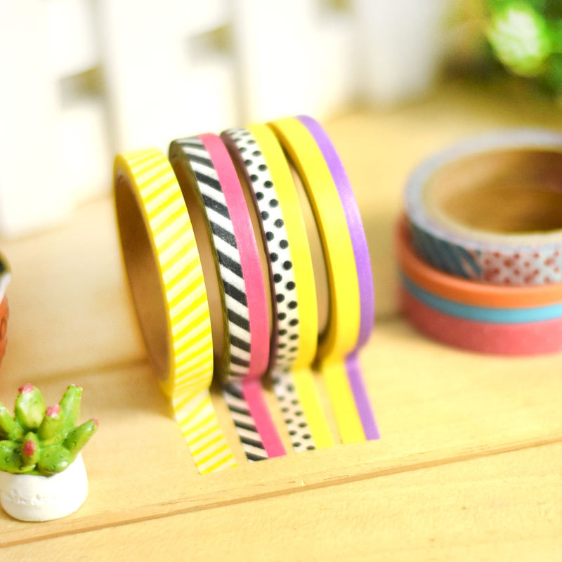18 pcs/lot Various 7mm*5m Washi Tape Pack Scotch Masking Tapes for Diary Frame Scrapbooking Deco Sticker Zakka Stationery