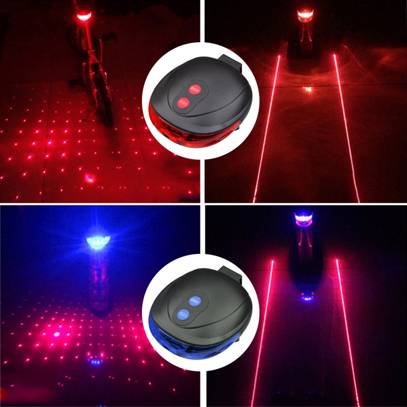 Cycling Lights Waterproof 5 LED 2 Lasers 3 Modes Bike Taillight Safety Warning Light Bicycle Rear Bycicle Light Tail Lamp