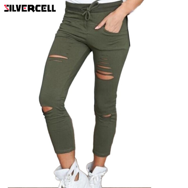 Women Trousers Hole leggings Ripped Pants Female Slim Stretch Drawstring Trousers Pants Army Green Pants Plus Size S-4XL