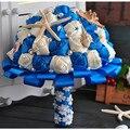 2016 Перл Свадебный Букет Кристаллы Синий Шелковый Цветок Starfish Раковины Океана Пляж Свадебный Букет Braut Штрауса