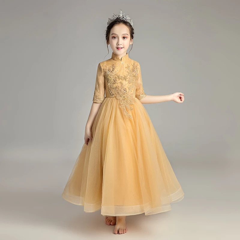 2018 Autumn New Children Model Show Host Piano Costume Princess Lace Flowers Long Dress Girls Kids Birthday Evening Party Dress high quality 2018 girls dress children princess dress fluffy yarn girls show caterpillar evening dress birthday host piano