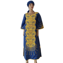 MD 2019 new africa dresses for women bazin dashiki african embroidery clothing dress and head wraps