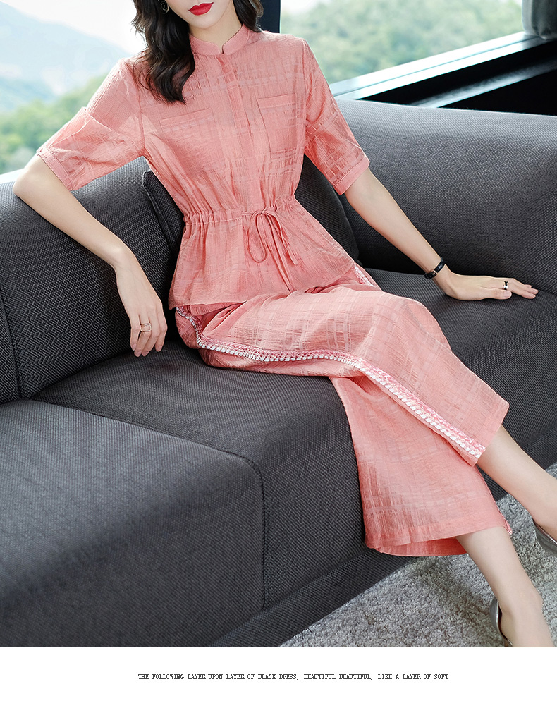 2019 Summer Two Piece Sets Outfits Women Blue Pink Short Sleeve Tunics Tops And Wide Leg Pants Suits Office Elegant 2 Piece Sets 47