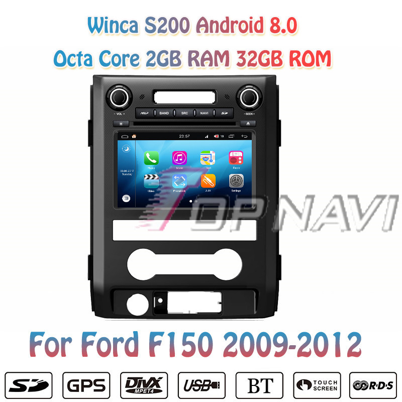 TOPNAVI 8'' Octa Core S200 Android 8.0 Car DVD Multimedia Player for Ford F150 2009 2010 2011 2012 Audio Radio Stereo 2DIN GPS