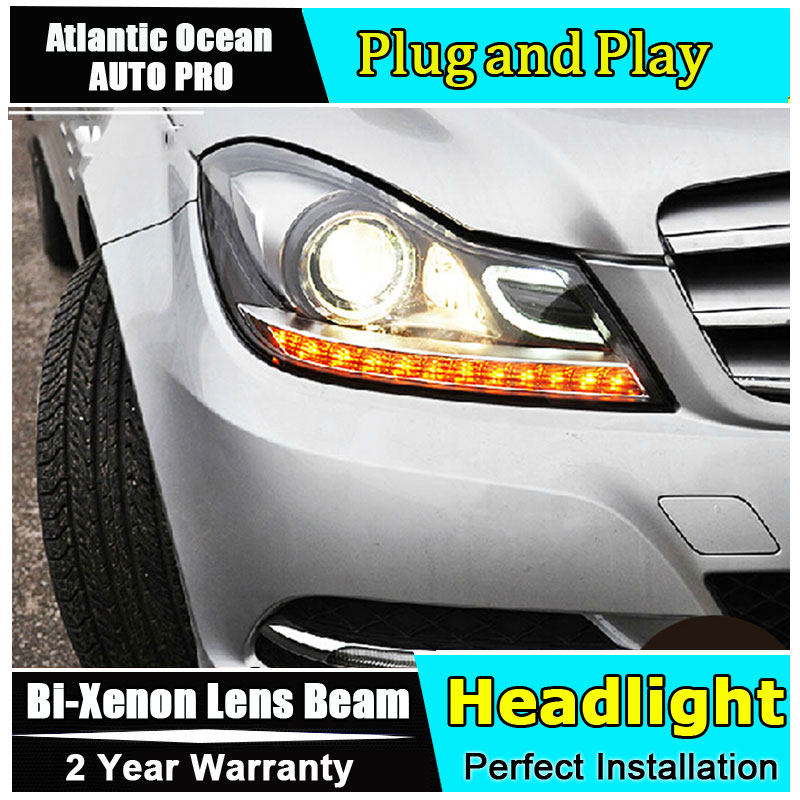 Car Styling LED Head Lamp for Benz W204 headlights 2011-2013 C180 C200 C260 led headlight led HID KIT Bi-Xenon Lens low beam hireno headlamp for mercedes benz w163 ml320 ml280 ml350 ml430 headlight assembly led drl angel lens double beam hid xenon 2pcs