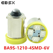 EBSX 6V 6.3V 50PCS BA9S T4W T11 1210 4 SMD LED Light Bulb Car Styling White Blue Red Amber Green Car Interior Reading Auto Bulbs(China)