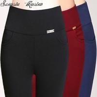 Lato w stylu mody 3 kolor karty Żelaza zawód kobiety wysokie spodnie waish S-6XL, 5XL, cielę długości 4XL spodnie capris plus size