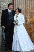Белый винтажный свадебный плащ Обертывания куртки зимняя теплая накидка для невесты искусственный мех свадебное пальто наряды холодная по