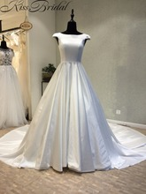 Купить с кэшбэком Fashionable Cheap Wedding Dress 2018 Open Corset Back Satin Bride Dresses A-line Long Trains vestidos de novia